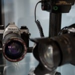 Vintage cameras on display in portrait studio