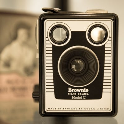 Vintage camera on display in portrait studio