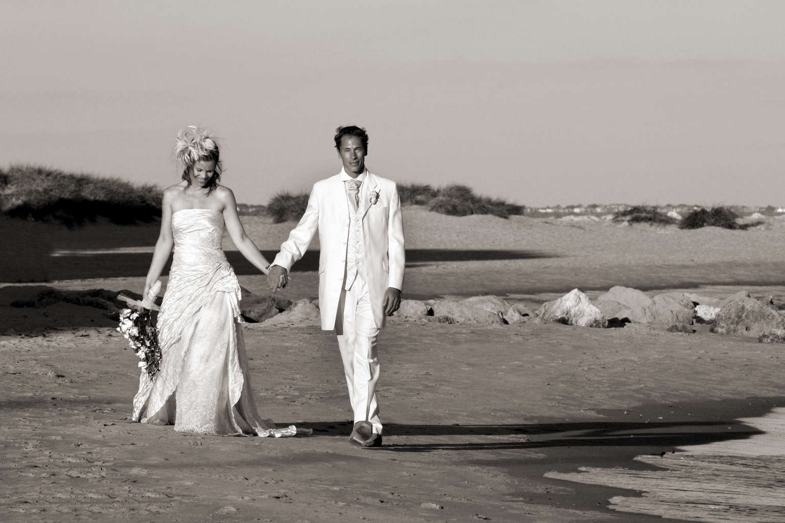 Wedding photo on Sandbanks Beach, Poole