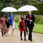 rainy wedding Athelhampton House