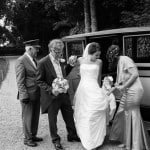 bride arrives at St Andrews Church, Bingham's Melcombe