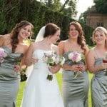 Bride and bridesmaids at Athelhampton House