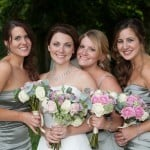 Bride and bridesmaids at Athelhampton House wedding
