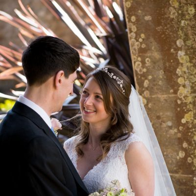 Bride and groom at Athelhampton House wedding venue, Dorset