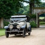 Bride arriving at Athelhampton House