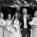 Bride and bridesmaids at Athelhampton House, Dorset