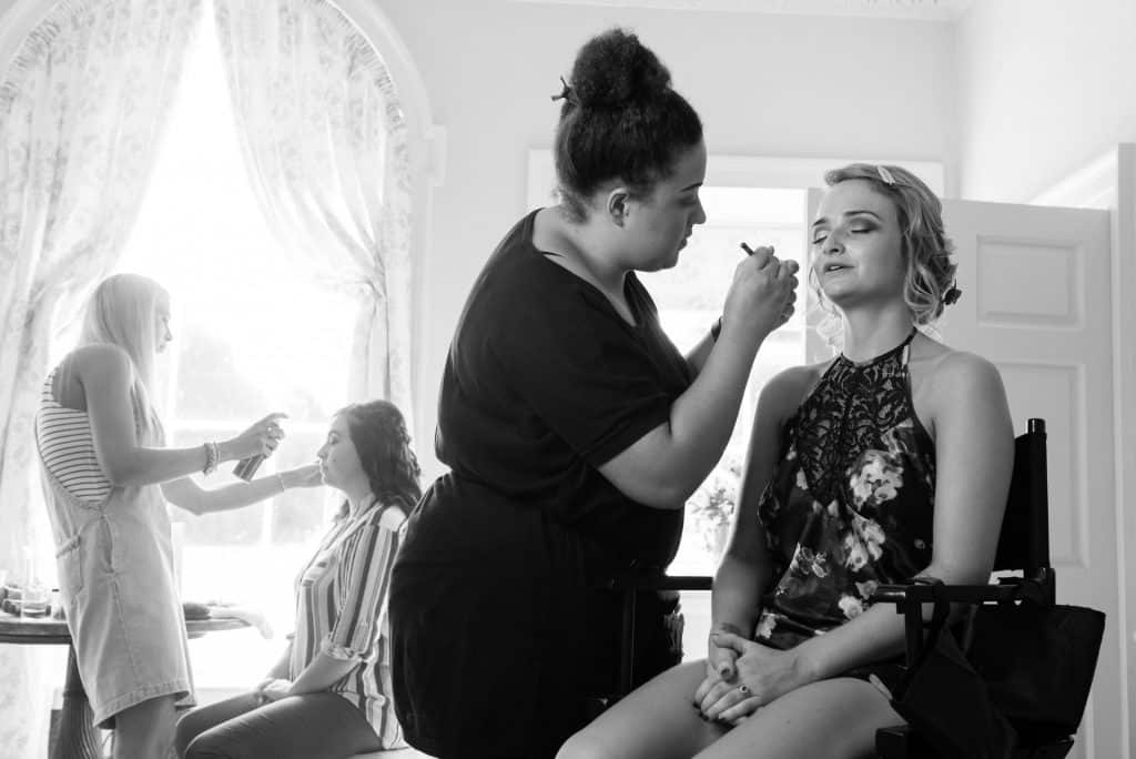 Bride having makeup at Came House