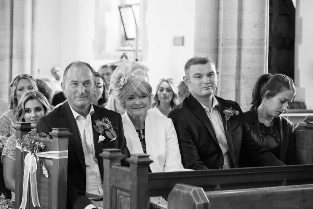 Wedding guests at St Mary the Virgin Church, Piddlehinton