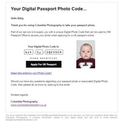 Passport photo code for babies