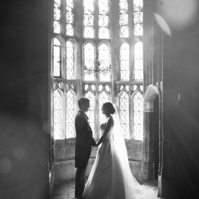 oriel window wedding photo, bride and groom, athelhampton house